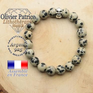 bracelet tete de mort avec sa pierre naturelle en jaspe dalmatien