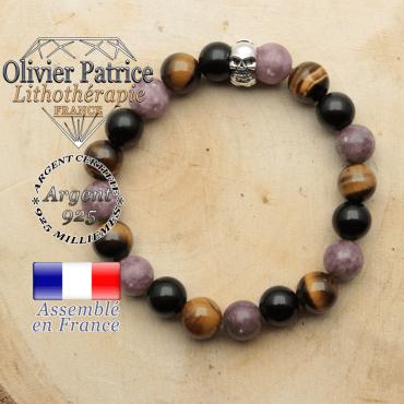 bracelet tete de mort avec sa pierre naturelle en protection femme