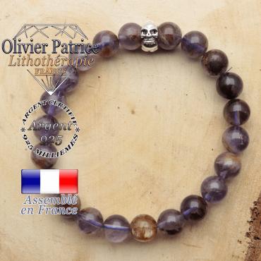 bracelet tete de mort avec sa pierre naturelle en cacoxenite