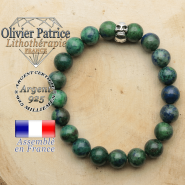 bracelet tete de mort avec sa pierre naturelle en azurite malachite