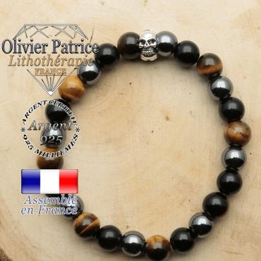 bracelet tete de mort avec sa pierre naturelle en protection homme