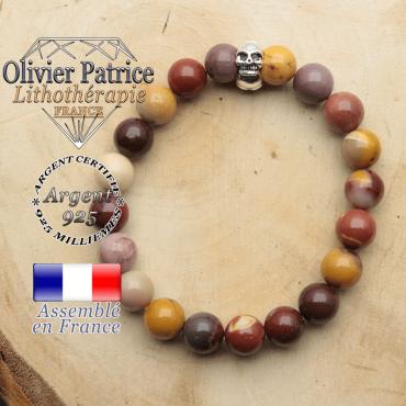 bracelet tete de mort avec sa pierre naturelle en jaspe mokaite