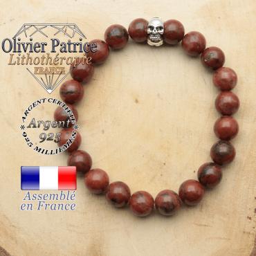 bracelet tete de mort avec sa pierre naturelle en jaspe rouge