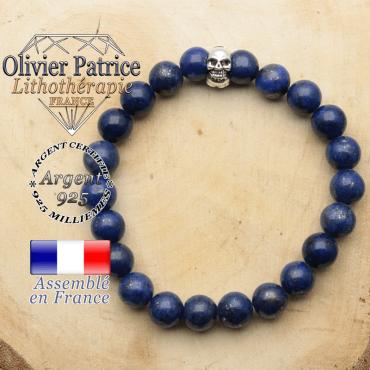 bracelet tete de mort avec sa pierre naturelle en lapis lazuli