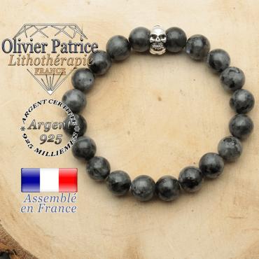 bracelet tete de mort avec sa pierre naturelle en larvikite