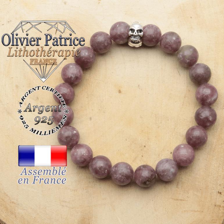 bracelet tete de mort avec sa pierre naturelle en lepidolite