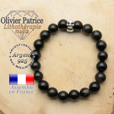 bracelet tete de mort avec sa pierre naturelle en obsidienne dore