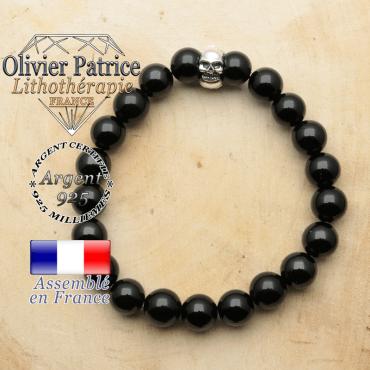 bracelet tete de mort avec sa pierre naturelle en obsidienne