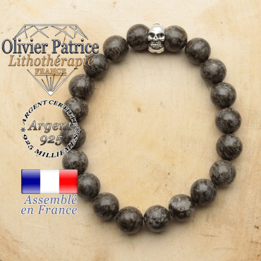 bracelet tete de mort avec sa pierre naturelle en obsidienne neige brune
