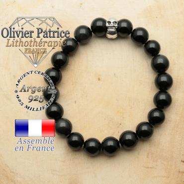 bracelet tete de mort avec sa pierre naturelle en obsidienne oeil celeste