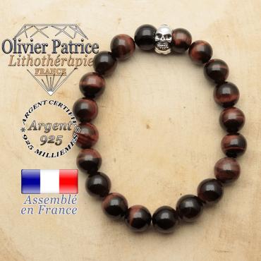 bracelet tete de mort avec sa pierre naturelle en oeil de taureau