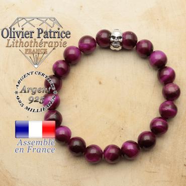 bracelet tete de mort avec sa pierre naturelle en oeil de tigre violette teinte