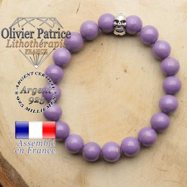 bracelet tete de mort avec sa pierre naturelle en phosphosiderite