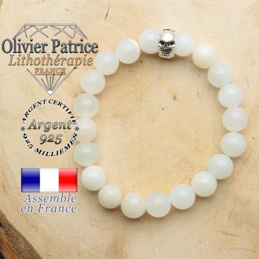 bracelet tete de mort avec sa pierre naturelle en opale peruvienne