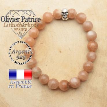 bracelet tete de mort avec sa pierre naturelle en pierre de soleil