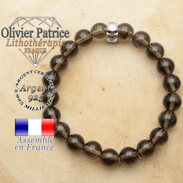 bracelet tete de mort avec sa pierre naturelle en quartz fume