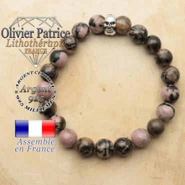 bracelet tete de mort avec sa pierre naturelle en rhodonite