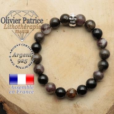 bracelet tete de mort avec sa pierre naturelle en tourmaline elbaite