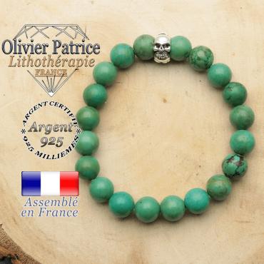 bracelet tete de mort avec sa pierre naturelle en turquoise tibet