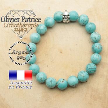 bracelet tete de mort avec sa pierre naturelle en turquoise
