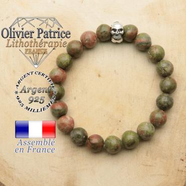 bracelet tete de mort avec sa pierre naturelle en unakite