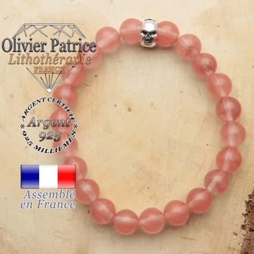bracelet tete de mort avec sa pierre naturelle en tourmaline pasteque