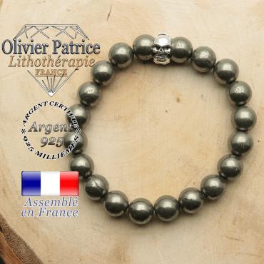 bracelet tete de mort avec sa pierre naturelle en pyrite