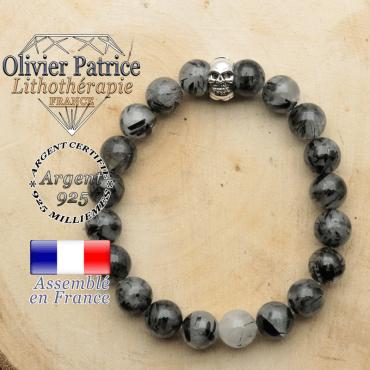 bracelet tete de mort avec sa pierre naturelle en quartz rutile