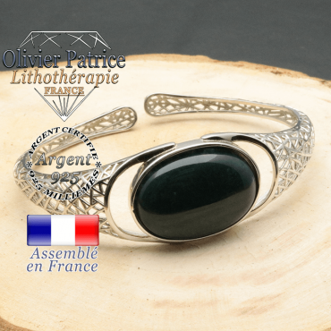 Bracelet argent 925 en forme de toile d'araignée en pierre naturelle en agate mousse