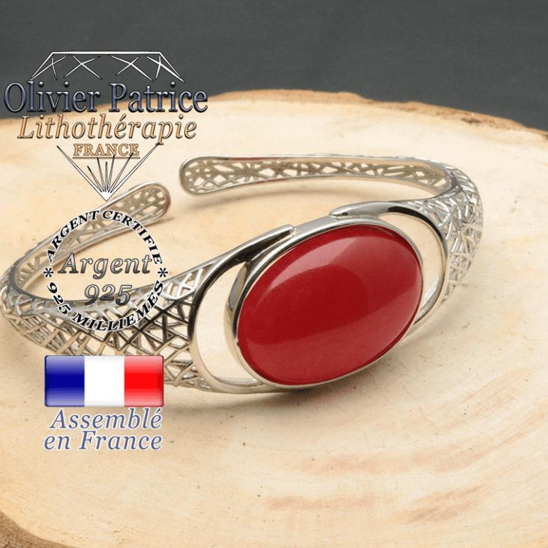 Bracelet argent 925 en forme de toile d'araignée en pierre naturelle en agate rouge