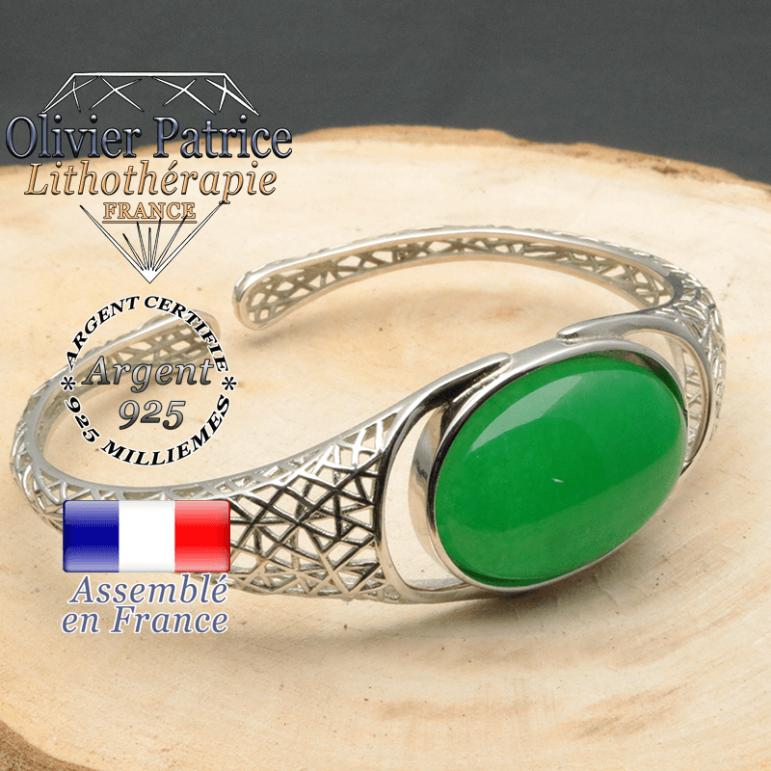 Bracelet argent 925 en forme de toile d'araignée en pierre naturelle en agate verte