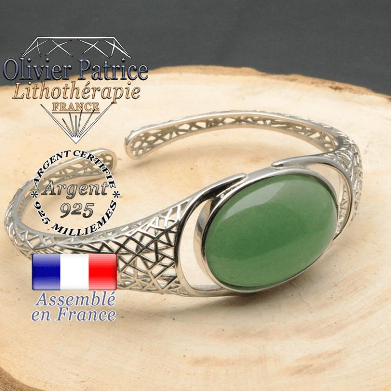 Bracelet argent 925 en forme de toile d'araignée en pierre naturelle en aventurine