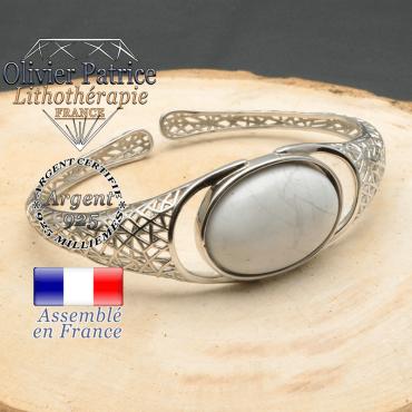 Bracelet argent 925 en forme de toile d'araignée en pierre naturelle en howlite