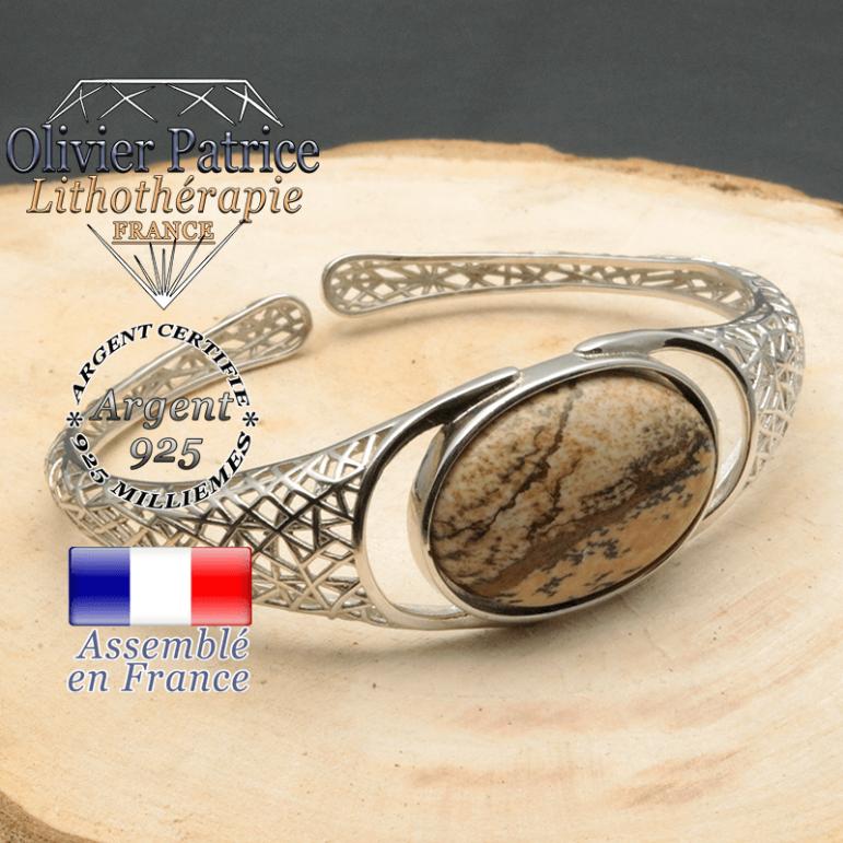 Bracelet argent 925 en forme de toile d'araignée en pierre naturelle en jaspe paysage