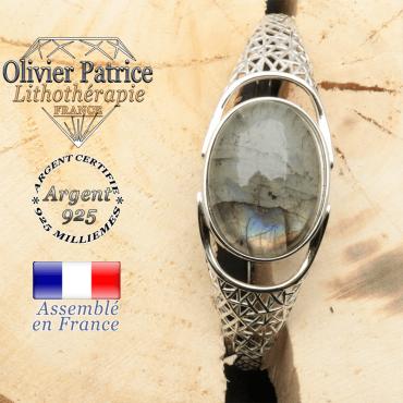 Bracelet argent 925 en forme de toile d'araignée en pierre naturelle en labradorite