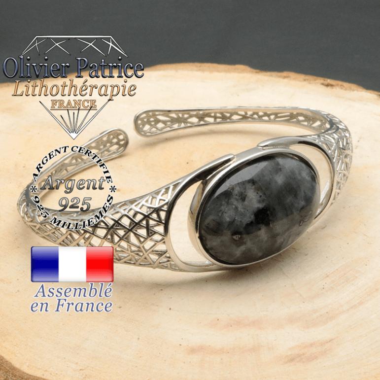 Bracelet argent 925 en forme de toile d'araignée en pierre naturelle en larvikite