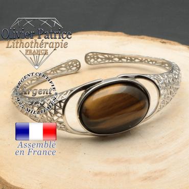Bracelet argent 925 en forme de toile d'araignée en pierre naturelle en oeil de tigre