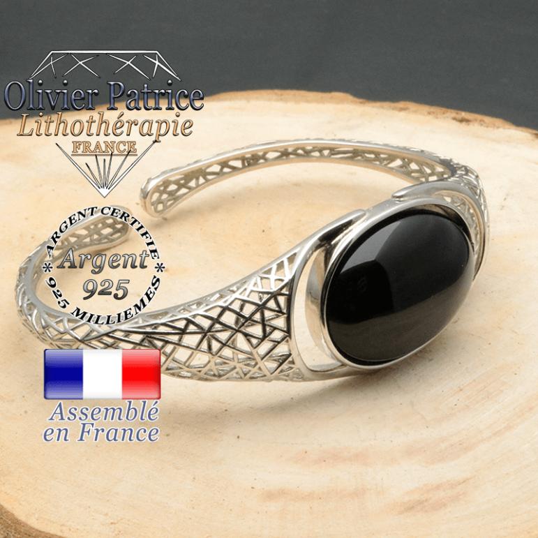 Bracelet argent 925 en forme de toile d'araignée en pierre naturelle en onyx