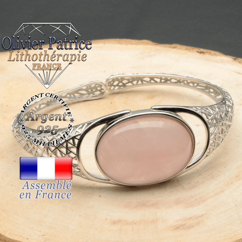 Bracelet argent 925 en forme de toile d'araignée en pierre naturelle en quartz-rose