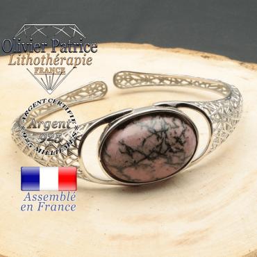 Bracelet argent 925 en forme de toile d'araignée en pierre naturelle en rhodonite