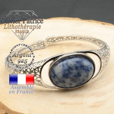 Bracelet argent 925 en forme de toile d'araignée en pierre naturelle en sodalite