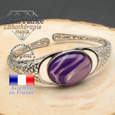 Bracelet argent 925 en forme de toile d'araignée en pierre naturelle en agate violette a bande