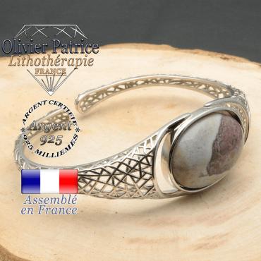 Bracelet argent 925 en forme de toile d'araignée en pierre naturelle en agate inde