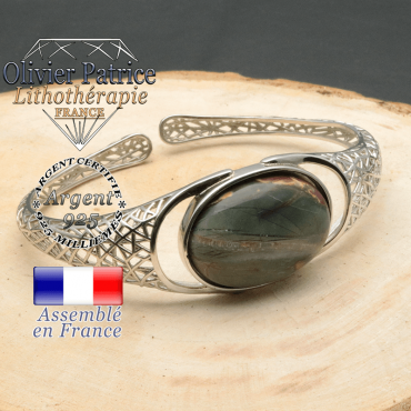 Bracelet argent 925 en forme de toile d'araignée en pierre naturelle en jaspe picasso