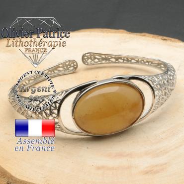 Bracelet argent 925 en forme de toile d'araignée en pierre naturelle en onyx jaune