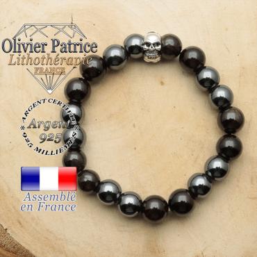bracelet tete de mort en argent 925 et sa pierre naturelle en grenat et hematite