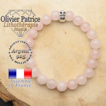 Bracelet argent 925 en forme de toile d'araignée en pierre naturelle en quartz rose