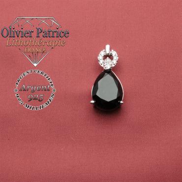 Pendentif onyx naturel et argent 925 en forme de goutte surmonté d'un anneau brillant