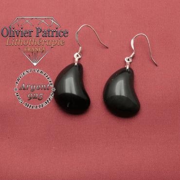 Boucles d'oreilles en obsidienne naturelle en forme de lune et argent 925