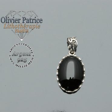 Pendentif en onyx naturel ovale style médaillon en argent 925